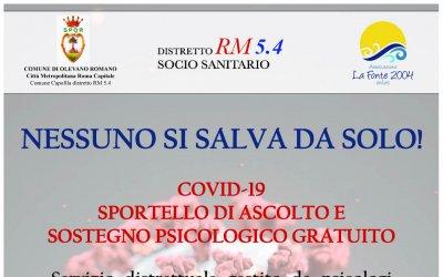 SPORTELLO DI ASCOLTO E SOSTEGNO PSICOLOGICO GRATUITO - EMERGENZA COVID-19