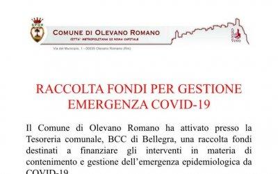 RACCOLTA FONDI PER GESTIONE EMERGENZA COVID-19
