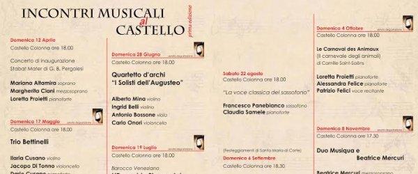 Dal 12 aprile al via gli incontri musicali al Castello Colonna