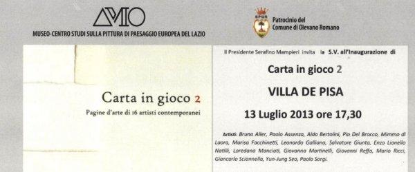Dal 13 Luglio Carta in Gioco 2. Redazione catalogo di Francesca Tuscano