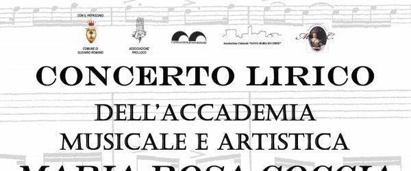 Domenica 12 Gennaio Concerto Lirico dell'accademia Musicale ed artistica Maria Rosa Coccia