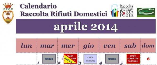 Calendario Raccolta rifiuti domestici mese di aprile 2014