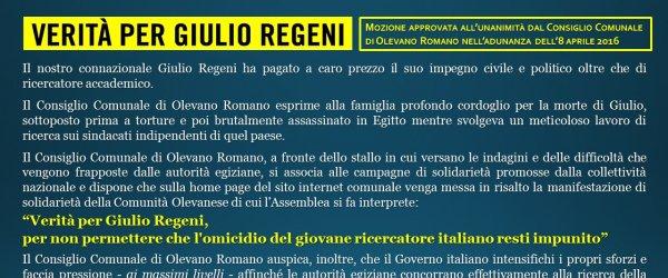 Verit?? per Giulio Regeni, per non permettere che l'omicidio del giovane ricercatore italiano resti impunito