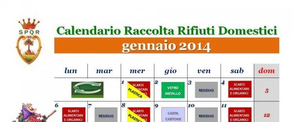 Calendario raccolta dei rifiuti domestici mese di Gennaio 2014