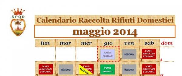 Raccolta differenziata: calendario raccolta frazioni nel mese di maggio 2014
